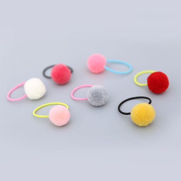 Wholesale Boutique 30pcs Fashion Cute Candy Color Balls Pom Pom Elastic Hairbands Cute Hair Ties Rubber Gum Rope Princess Headware
