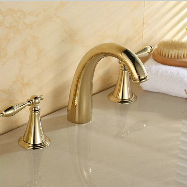 best selling 3-holes golden polished bathroom basin sink mixer tap bathtub faucet set,solid brass deck mounted taps A-F042
