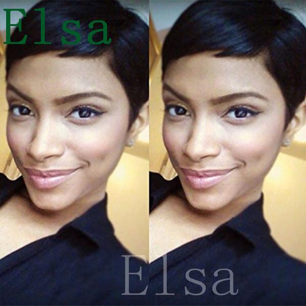 African Americans Black Short Full Hair Lace Wig Glueless Wig Rihanna pixie cut short vietnamese human natural Hair Wigs