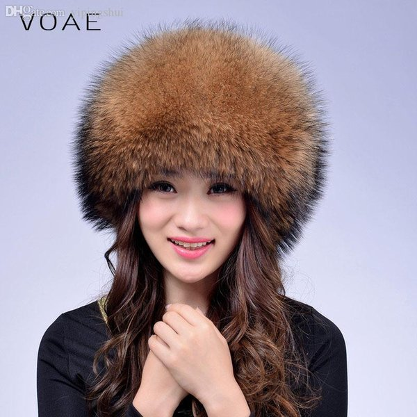 Großhandels-VOAE Damenmode-beiläufiger Waschbär-Hundepelz gespleißter echter / echter blauer Fox-Pelz-Hut