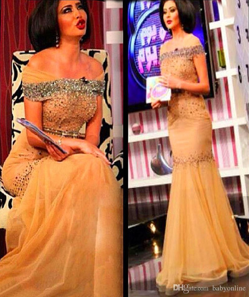 Vintage Myriam Fares Sexy Celebrity Sirena Abiti da sera Elegante Tulle Bateau Sparkly paillettes Cristalli Arabi Abiti da ballo
