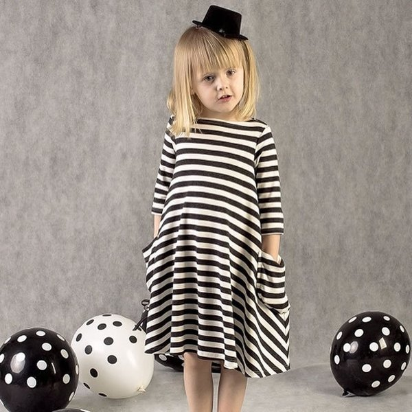 2016 Summer Fashion Striped Beach Dresses For Baby Girls Short Sleeve Cotton Casual Princess Party Dress Kids Costume Clothing