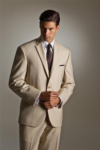 Beige Jackets wedding suit Groomsman Bridesman Men's Clothing Business Suits Groom Tuxedos Two Buttons Lapel Formal Suits Man swallow-tailed