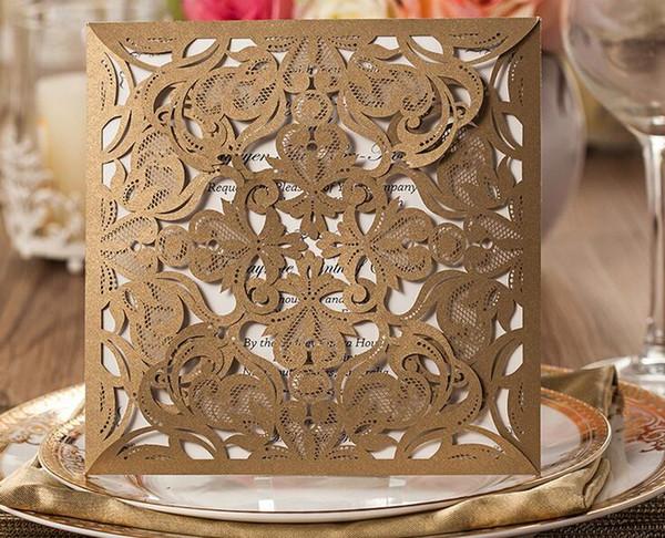 Inviti di nozze con taglio laser Carta per inviti stampa libera di carta dorata per fiori di compleanno Biglietti di auguri Articoli per feste Elegante