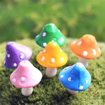 20pcs/lot artificial colorful Mushrooms fairy garden miniatures gnome moss terrarium decor resin crafts bonsai home decor for DIY Zakka