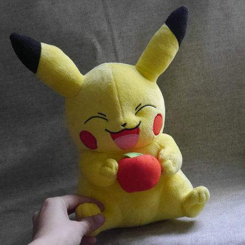 Anime Stuffed Animal New Original ~Go Pikachu Holding Fruit 12 inch 30cm Large Edition ~Stuffed Animal Plush Toy Doll
