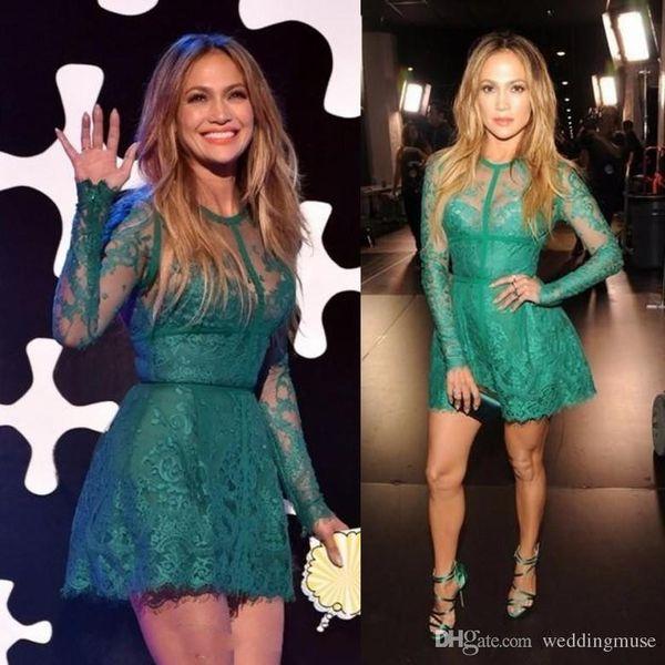 Jennifer Lopez Red Carpet Dress 2017 Fashionable A Line Lace Appliques Long Sleeve Green Short Cocktail Homecoming Dresses