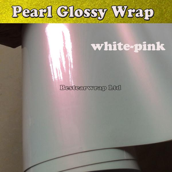 pearlescent глянцевая белая виниловая пленка с воздушным пузырем бесплатно Goss Pearl White-Pink Car Wrap Film обложки наклейки 1.52 * 20 м / рулон
