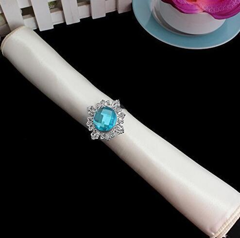 20pcs Round Blue Crystal Napkin Ring Napkin ring Serviette Buckle Holder Hotel Wedding Party Favour Decor