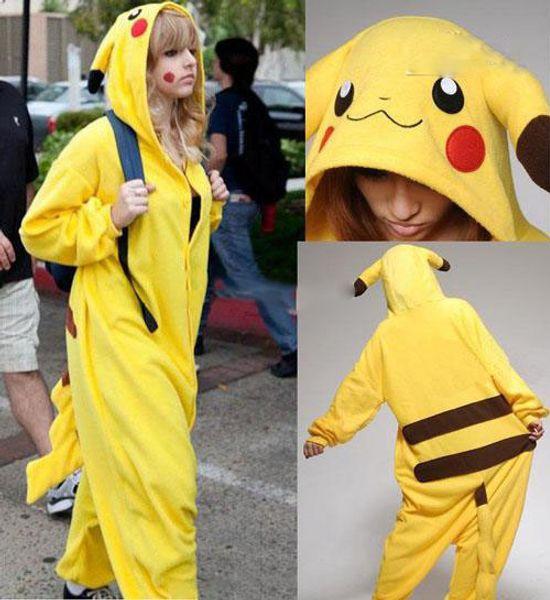 Alta qualidade new hot sale amarelo pikachu dress adorável barato pijama anime cosplay unisex adulto sleepwear
