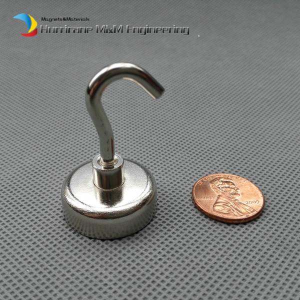 6 pcs / lote 10 kg Tirando del imán de elevación Dia25 x 8 mm Ollas magnéticas con gancho Fuerte Imán de montaje Imanes permanentes de neodimio Uso de la instalación