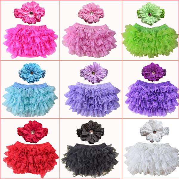 Filles Chevron Ruffles pp pantalons fleurs ondulées + fleurs de pivoine Serre-tête 2pcs ensemble bambin sous-vêtements vêtements culottes shorts d'été E011