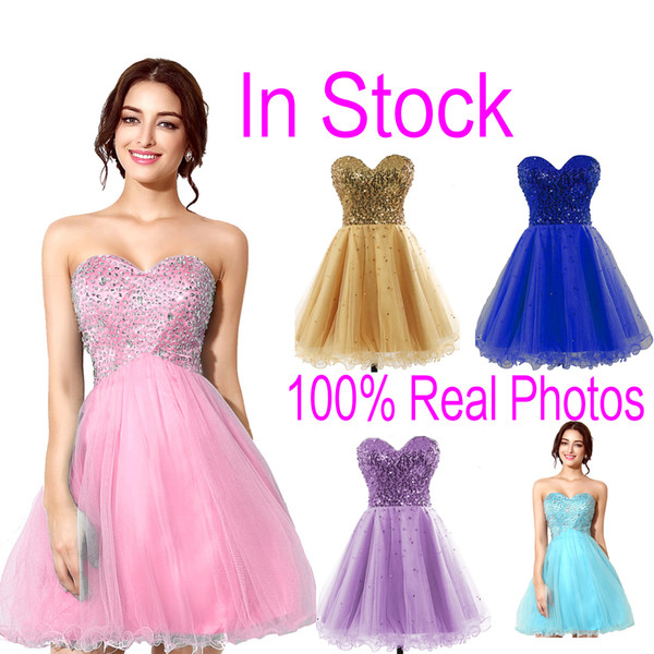 Em Estoque Rosa Tule Mini Cristal Vestidos Homecoming Contas Lilás Céu Azul Royal Curto Partido Prom Vestidos de Formatura 2019 Barato Real Imagem Quente