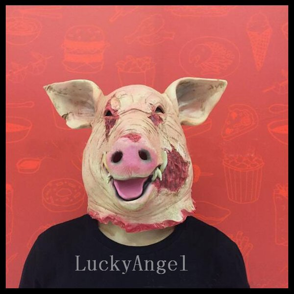 2017 New Scary Adult Animal Full Face Mask Latex Horror Pig Full Head Mask For Halloween Masquerade Parties Costume Ball Cosplay Supplies