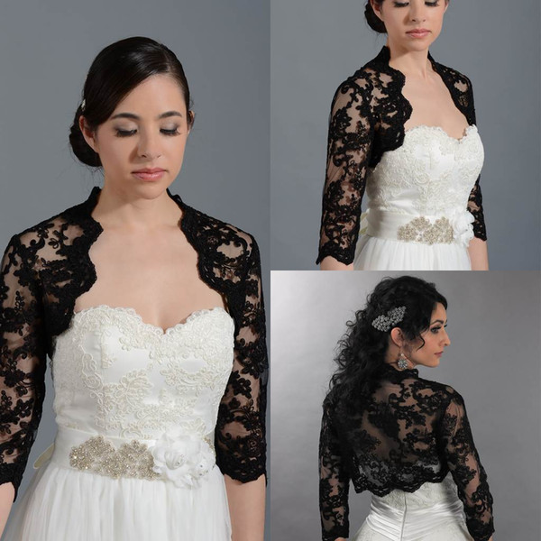 Weddings   Events   Bridal Accessories   Bridal Wraps   Jackets  . 2015 New  Arrival Front Open Appliques 3 4 Long Sleeves Lace Black Bolero Jacket Cheap 22a923976642