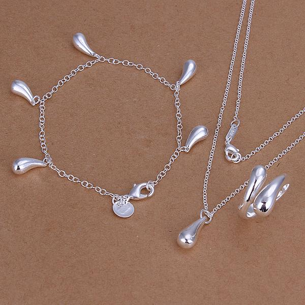 High grade 925 sterling silver Drops suit jewelry sets DFMSS305 brand new Factory direct sale 925 silver necklace bracelet ring