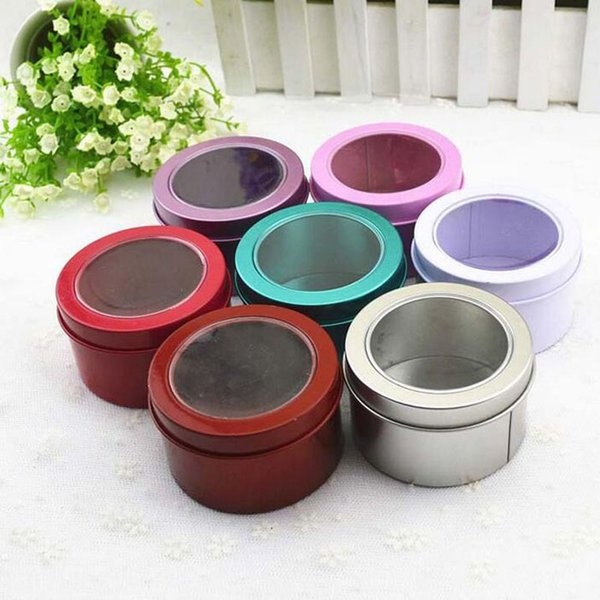100 pcs/lot Tin Box Metal Round Colorful Small Wedding Candy Box Sweet Cans Tea Container Clear Lid Free Shipping ZA3795