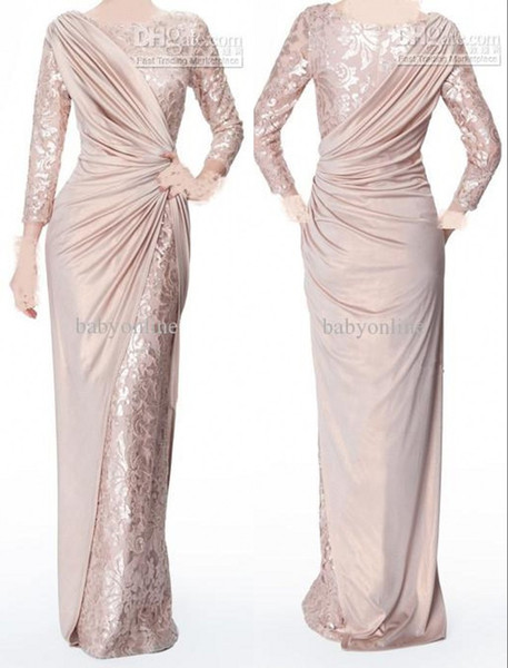 best selling Custom Made Pearl Pink Long Sleeves Mother of Bride Evening Dresses Jewel Neck Elegant Glossy Floor Length Pleats Formal Prom Gowns