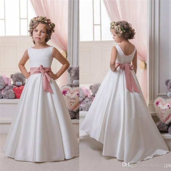 Scoop White Sash Bow Ribbon A Line High Low Satin Beautiful Wedding Dresses Flower Girl Dresses