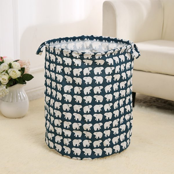 top popular Home household foldable cotton&linen fabric handle waterproof laundry storage basket bathroom sundries dirty clothes organizer free shipping 2019