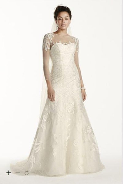 2016 Lace A Line Wedding Dresses Illusion Neckline 3 4 Sleeves With Leaf Like Beaded Applique On Shoulders And Skirt CWG704 Plus Zise