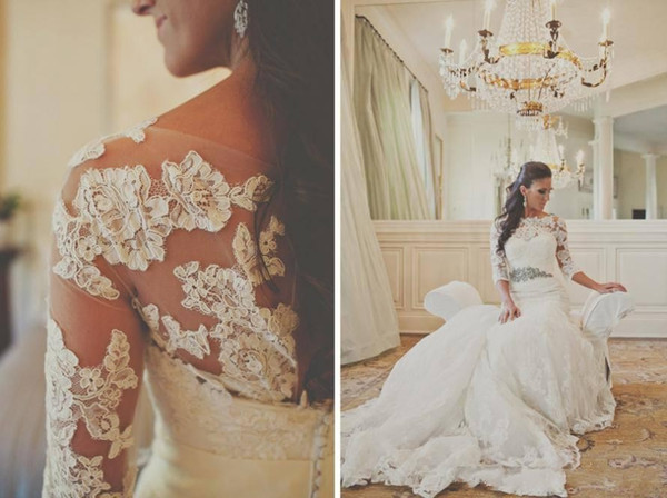 Hot Selling 3/4 Long Sleeves Bridal Jacket Elegant Bateau Neckline 2015 Cheap Bridal Wraps Custom Made Bridal Accessory Free Shipping