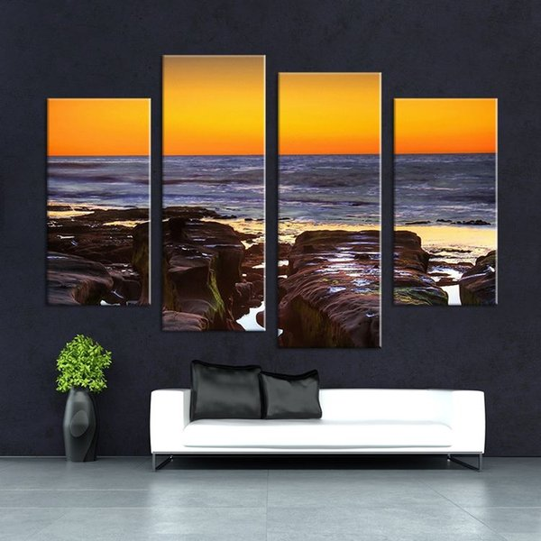 4 Panel Large Hd Seaview With Shiptop Rated Wall Painting Print On Canvas For Home
