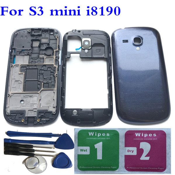 NEW Full Housing Back Battery Door Cover+ Tools For Samsung Galaxy S3 mini i8190 Black/White/Gold