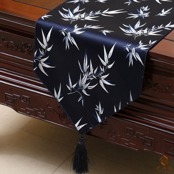 best selling Stylish Modern Luxury Decor Table Runners Silk Brocade Chinese style bamboo High End Coffee Table Cloth Bed Runner L200 x W35cm