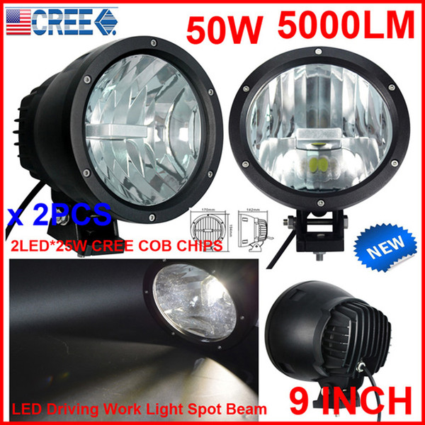 "NEW 2PCS 9"" 50W CREE LED Driving Work Light 2COB*25W CHIP Offroad SUV ATV 4WD 4x4 Spot Pencil Beam 12/24V 5000lm Xenon White 6K Replace HID"