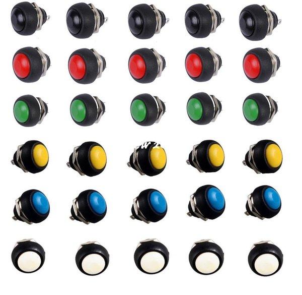100% brandnew 30pcs preto vermelho verde amarelo branco azul12mm interruptor de botão de pressão momentânea impermeável de vendas