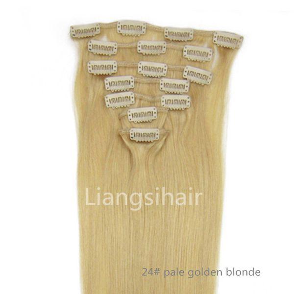 "Brazilian Hair Extensions 16"" 18"" 20"" 22"" 70g 7pcs 24# Pale Golden Blonde Brazilian Indian Malaysian Peruvian Clip in virgin Remy Human Hair"