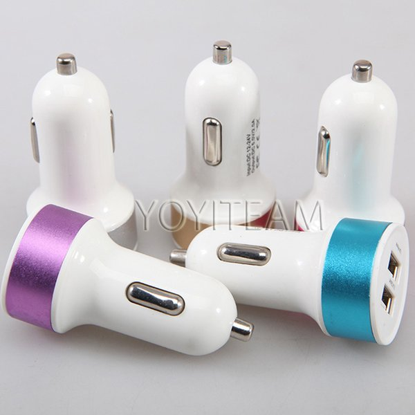 top popular 2.1A 2100mA dual usb car charger 2 port usb with colorful frame charge for ipad iphone samsung samrtphone mp3 mp4 in good quality new model 2019