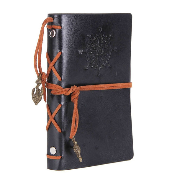 Leather Writing Journal Notebook Vintage Nautical Spiral Blank 6 Ring Binder String Daily Notepad Travel to Write in Unlined Paper Black