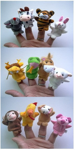 best selling 12 PC Animal Finger Puppets Story Time Finger Puppets Dozen Velour Animal Hand Puppets Kids TOY Preschool Kindergarten