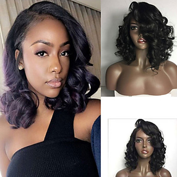 Hot Sale Side Parting Glueless 1b# Black Short Curly Wavy Bob Lace WigsHeat Resistant Synthetic Lace Front Wigs for Black Women