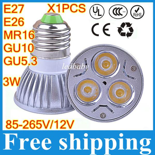 E27 MR16 Spotlight 1pcs / lot de alta potencia 3W led copa lámpara GU10 bombillas led focos led 12 voltios de luz led