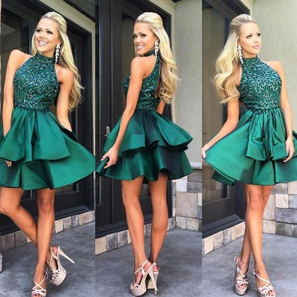 best selling Cute Green Halter Homecoming Dresses Beaded Elegant Satin Custom Made Sexy Cocktail Evening Prom Party Dresses