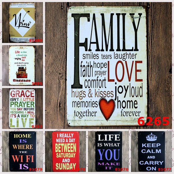 Retro FAMILY Tin Sign Metal Plaque Vintage Home Wall Decor ,Warmly decorated for home large size 20x30cm