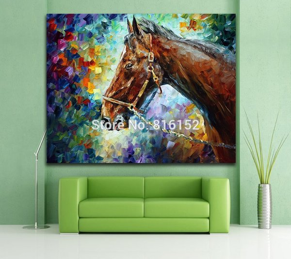 Fashion Palette Knife Painting Mr.Horse and Romantic Lion Animal Pictures Printed On Canvas Home Living Room Wall Decoration