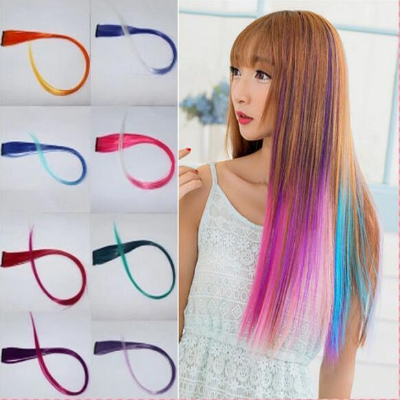 best selling Fashion Women Girls Multicolor Long Straight Synthetic Clip in on Ombre Hair Extensions 52cm Colorful Hair Clip In Free Shipping