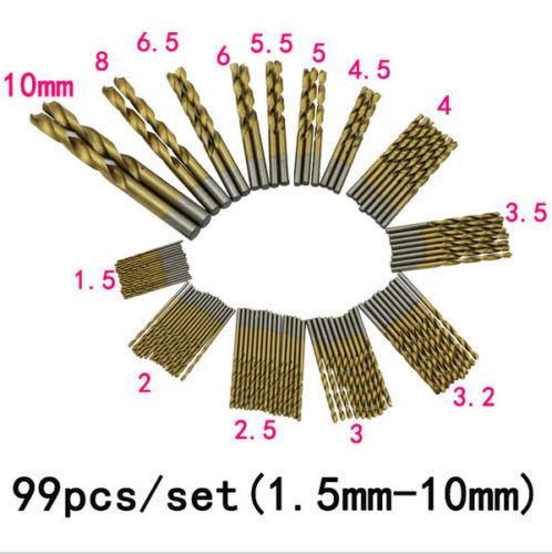 Fixmee99Pcs Manual Twist Drill Bits Set 1.5mm-10mm Titanium Coated HSS High Speed Steel Drill Bit Set Brocas Drilling For Metal