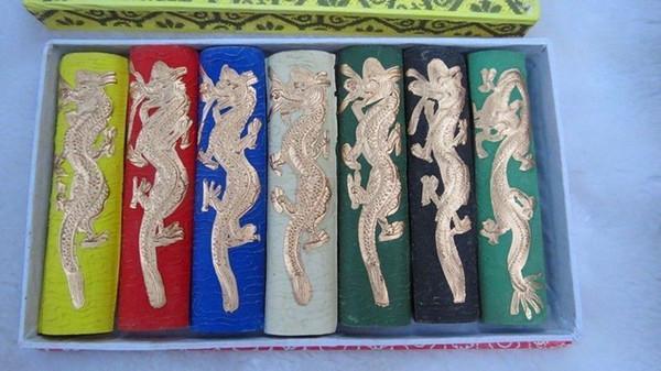 Toptan Ucuz Asya eski 7 renkler Oyma ejderha çin katı kaligrafi Boyama mürekkep sopa