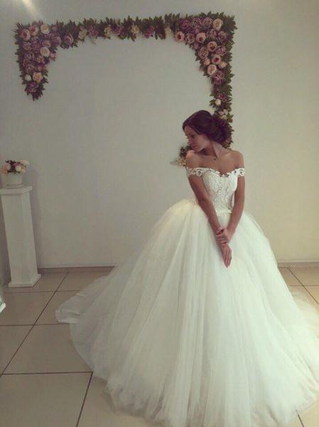 Beautiful Off The Shoulder Ball Gown Wedding Dresses Sweep Train Custom Made Bridal Gowns vestido de noiva BD1128