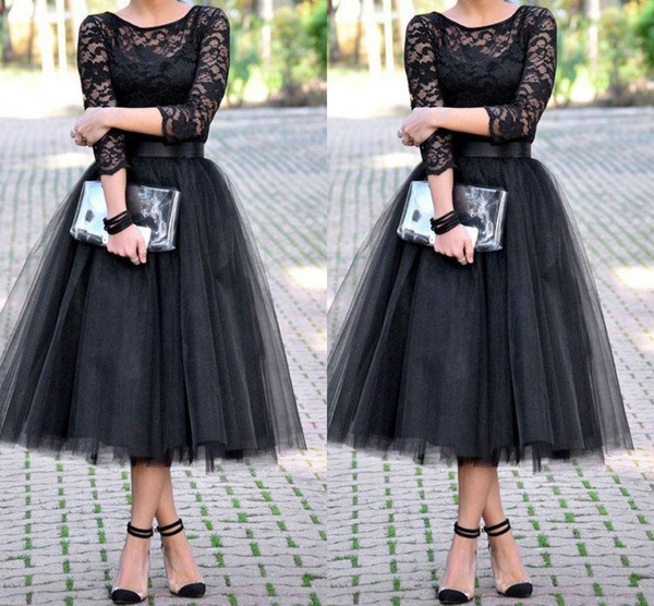 2015 bridesmaid dresses 3/4 Long Sleeves Tulle Skirt Bridal Shower Tea Length cheap free shipping