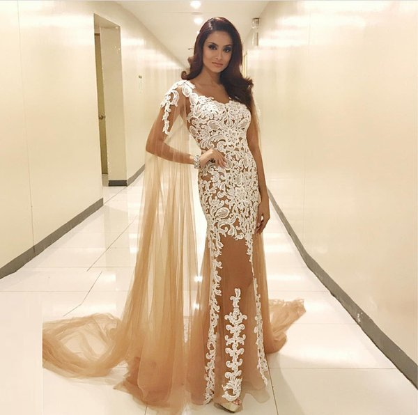 Glamorous Champagne Evening Dresses with Shawl See Through V-Neck Lace Appliques Tulle Prom Dress Sexy Mermaid Long Evening Party Gowns