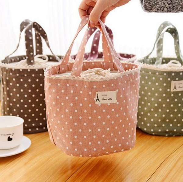Hotsale Cotone Lino Termico Isolato Lunch Box Tote Cooler Bag Bento Pouch Lunch Container Storage Bag Portable Carry Case Lunch Box Bag