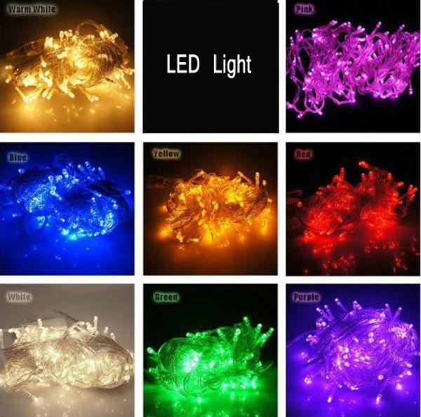 ARTICOLI DI PROMOZIONE !! Grande discout 100 LEDS Stringhe a LED 10M 110V / 220V per Clear Wire strisce led Decorazioni natalizie X'mas luci natalizie