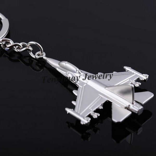 Metal F16 Fighter Plane model Keychain Zinc Alloy key chain Cool Battleplane Keyring For Military Fan 20pcs Casual Sporty keychain