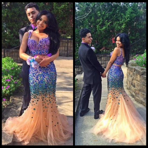 2016 Sexy Two Pieces Prom Dresses Sweetheart Colorful Beaded Champagne Tulle Floor Length Formal Party Dresses Mermaid Evening Gowns
